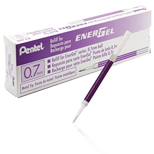 12 Center (Pentel LR7-VX Nachfüllmine für EnerGel-Stifte 0,35 mm Strichstärke , 0,7 mm Kugeldurchmesser, 12 Stück, violett)
