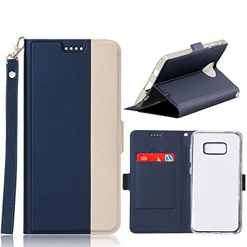Coque iPhone 8 Plus, AVIDET Bookstyle Étui Housse en Cuir Case à rabat pour iPhone 8 Plus étui case cover coque avec fonction de support et fente (Bleu) Bleu