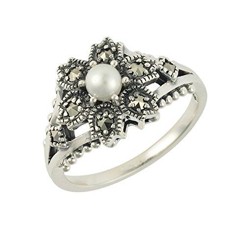 Esse Ring Markasit Sterling Silber chinesische Süßwasserperle und Markasit Viktorianische Blume Ring–Größe M