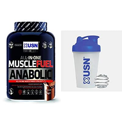 USN Muscle Fuel Anabolic Lean Muscle Gain Shake Powder - Chocolate, 2 kg with USN Metal Ball Mixer Shaker, 400 ml