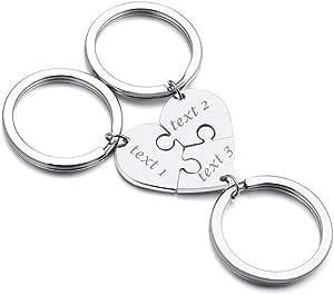 Vnox 2/3/4/5 Pz Personalizza Personalizzazione Amicizia/Amore Famiglia Puzzle Coppia Ciondolo Collane/Portachiavi/Braccialetti per Amante Amico BFF,Gioielli in Acciaio Anossidabile,Incisione
