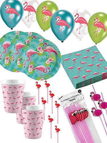 Unbekannt Flamingo Partyset 75-TLG. Cocktail Party Sommer Partygeschirr -