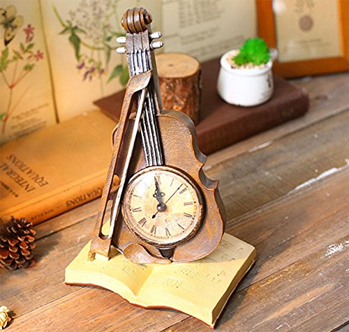MEILI Retro Telefon Personalisierte Uhren Uhr Dekoration Wohnzimmer TV  Cabinet Kreative Uhr Schlafzimmer Handwerk Dekoration , Red Book Violin