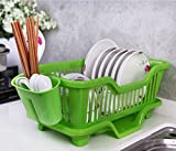 TIED RIBBONS 3 IN 1 Large dish drainer plastic basket for kitchen with tray for Kitchen (High Quality Plastic)