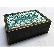 Envejecido de madera hojas & espejo Crafted Handcarved decorativo Joyero para women-men Jewel   decoración para el hogar acentos   almacenamiento y organizador