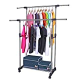 #5: Aventure Adjustable Telescopic Rolling Clothing and Garment Rack Cloth Hanger Portable Stainless Steel Double Pole Clothes Rack Hanger For (Clothes / Shoes)