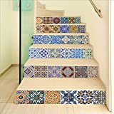 YSFU Wandsticker 6 Teile/Satz DIY 3D Treppe Aufkleber Fliesenmuster Für Zimmer Treppe Dekoration Wohnkultur Boden Wandaufkleber