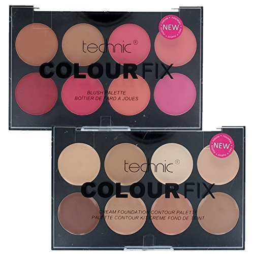 Technic Colour Fix Cream Contour Foundation Palette & Blusher Palette Set