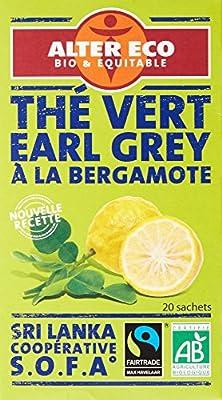 Alter Eco Thé Vert Earl Grey Ceylan Bio et Équitable 20 Infusettes