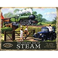 The Golden Age of Steam. V2 2-6-2 Sir Nigel Gressley. Train crossing bridge. Trainspotter Father with Kids and car. Train. Vintage painting LNER. For house, home, man cave, garage, pub. Large Metal/Steel Wall Sign by RKO