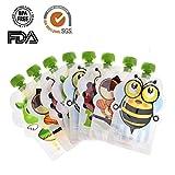 Poche Alimentaire Réutilisable pour Bébé Gourdes Réutilisable pour Enfants Etanche Robuste BPA-Free 8 PCS 150ml Su-luoyu