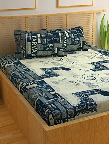 Story@Home Forever 240 TC Contemporary Cotton Double Bedsheet with 2 Pillow Cover, White