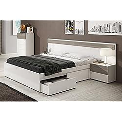 Cabezal con 2 mesitas de noche con cajones color blanco brillo y fresno para dormitorio cama matrimonio (medida: 257cm ancho x 92cm altura x 34cm fondo)