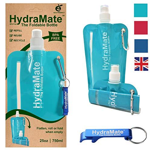 Faltbare, Wasserflasche. BPA-frei, 750ml. HydraMate Leichte, umweltfreundliche, nachfüllbare Flasche mit Sportverschluss und hygienischem Deckel. Mit Karabiner und Flaschenöffner