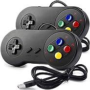 miadore 2 x Retro Classic USB Controller SNES Gamepad, controller USB SNES cablato per PC Gioco Windows Mac Ra