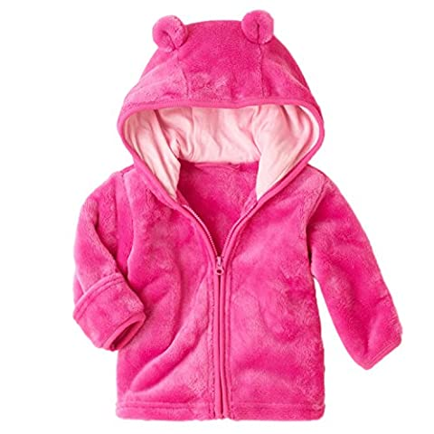 Funoc 3-24 Month Girl Winter Clothes Baby Girls Coat Micro Fleece Hoodie Zip Up Jacket for Infant Toddler (XL(13-24 Months ))