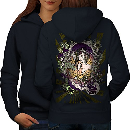 Dragon Japon Asie Fantaisie Femme S-2XL Sweat à capuche le dos | Wellcoda Bleu