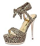 YE Damen High Heels Sandalen Plateau mit Schnürung Offen Stiletto Pumps 14cm Absatz Abend Leoparden Sommer Schuhe