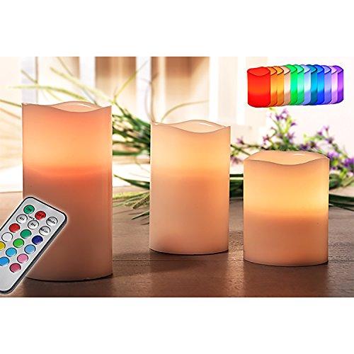 Juego de 3LED de cera de velas Juego de Leuchten Cera sin llama con temporizador y cambio de color útil Bombilla Modo o luz titilante
