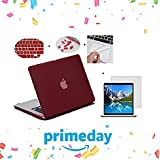 "For MacBook Air 13 Inch Case (Get 4 Saviour Accessories Free For MAC) Hard Shell Skin Cover Case For Apple MacBook Air 13"" 13.3"" Inch A1369, A1466 Hard Shell Case Cover (Wine Red)"