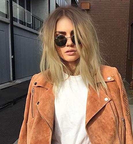 Vébonnie - Peluca de encaje frontal con pelo rubio y corte estilo bob corto, hecha de cabello sintético de aspecto realista con raíces oscuras