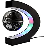 """Baslety Magnetic Levitation Floating World Map Globe with C Shape Base, 3"""" Rotating Planet Earth Globe Ball Anti Gravity LED Light Lamp- Educational Gifts for Kids, Home Office Desk Decoration"""