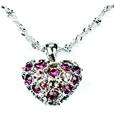 I Love You Always - Limited Edition - Luxurious and Exquisite Ladies Purple Crystal Heart with White CZ Austrian Crystals Pendant