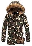MILEEO Winterjacke Wärmejacke Parka Camouflage Militärstil Armee Steppjacke Jacke Sportjacke Kapuzenjacke, Gelb M