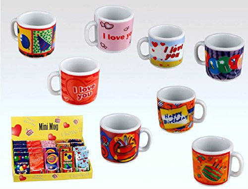 Idea bomboniere: mini tazza regalo - tazzina da collezione - portaconfetti - decorata Natale Compleanno San Valentino; set di 12 pezzi