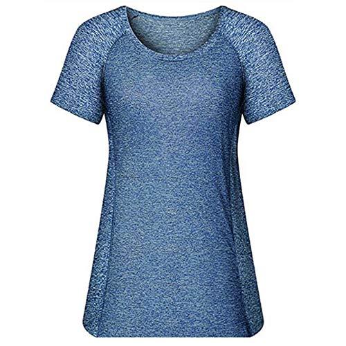 Tee-Shirt Femme Manche Courte Décontracté Été Col Chemisier Top Shirt Blouse,Col Rond Sport Yoga lac Bleu S