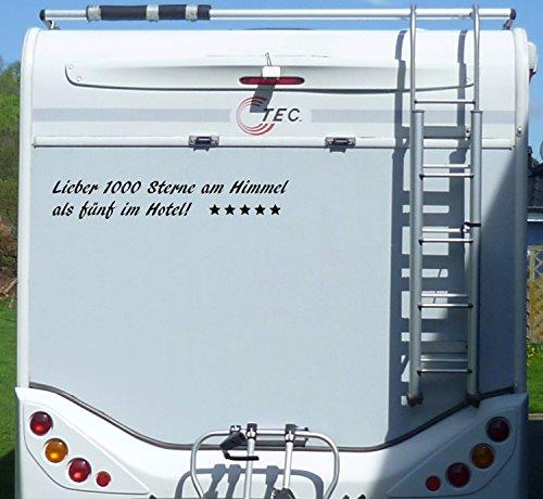 Aufkleber 1000 Sterne als 5 im Hotel Wohnmobil Wohnwagen Camping Caravan Auto - 55 cm / Schwarz
