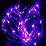 Xsj LED Silberdraht Schnur Licht Feen Lampe Dekoratives Weihnachtslicht Mit 8 Funktionen Fernbedienung Von 3 AA Batterie,Violet,5M