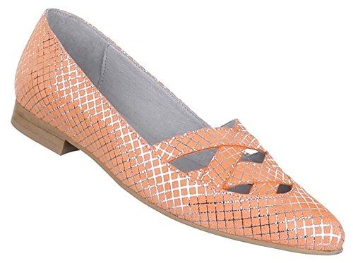 Bombas Sapatos Femininos Laranja De Couro Confortável