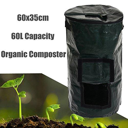 60L Bolsa de compost de jardín Yarda de cocina Bolsa de compost Convertidor de desechos orgánicos Portátil Ambiental PE Tela Jardinera Suministro 35x60 cm
