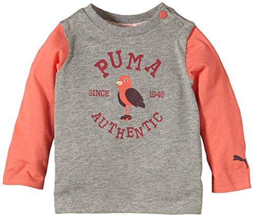 Puma Baby T-Shirt Long Sleeve Graphic Tee Athletic Gray Heather-Dubarry, 104 - Athletic Gray Heather