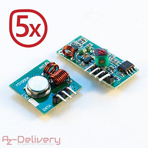 funk receiver AZDelivery ????? 5 x 433 MHz Funk - Sende und Empfänger Modul Set für Raspberry und Arduino Wireless Transmitter Receiver mit gratis eBook!