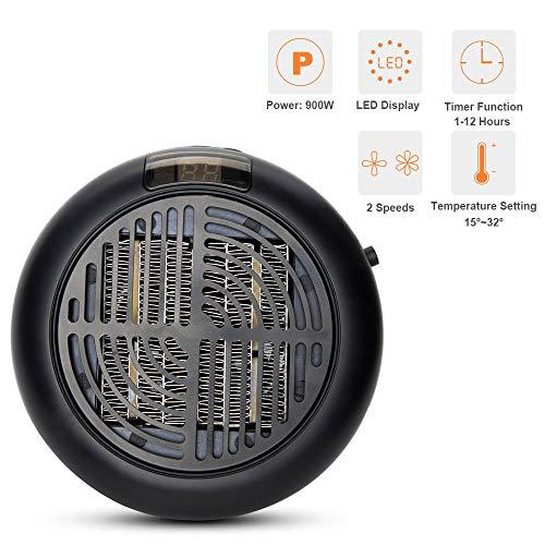 900 Watt Mini Elektrische Heizung Fan Tragbare Raum Keramik Heizung mit LED Temperaturanzeige High Power für zuhause, büro, garage.