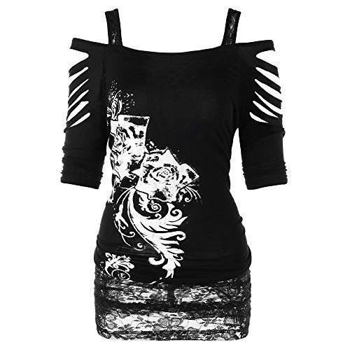 Zilosconcy Camiseta Top Estampado De Flores Mujeres gótico...
