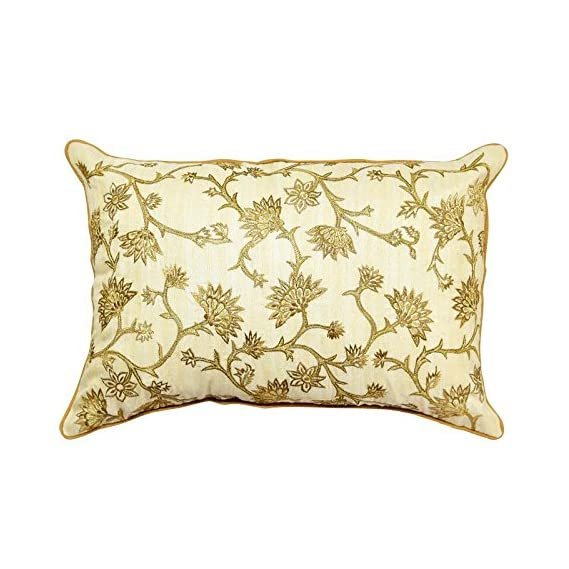 Sadyaska Silk Dupion Hand Embroidered Cushion Cover Floral Decorative Patio Sofa Chair Office Couch Pillow Cushion Case 12x18