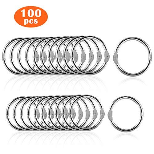 100 Stück Bücher Ringe 2 Größen - Ipow 20mm & 25mm Loseblatt Verbinder Binder Ringe perfekt für Memo-Ablage, Schlüsselanhänger, Namensschilder, Fotoalbum und Schlüsselringe (20 & 25mm)