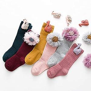 RUOHAN Kinder Socken 5 Paar Kinderröhrensocken Herbst Und Winter Kreativdekoration Babysocken Baumwolle Ohne Knochen Mädchenhaufensocken