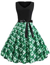 a0287ff90c9  Rockabilly Kleid für Damen  Kleeblatt Kleid Neckholder Kleid Swing Kleid  Festliche Partykleid St Patricks