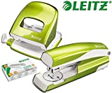 Leitz 5008 NeXXt Series WOW Bürolocher, Metall, bis zu 30 Blatt / Kombi-Set mit Heftgerät + 1000 Klammern extra (Grün Metallic)