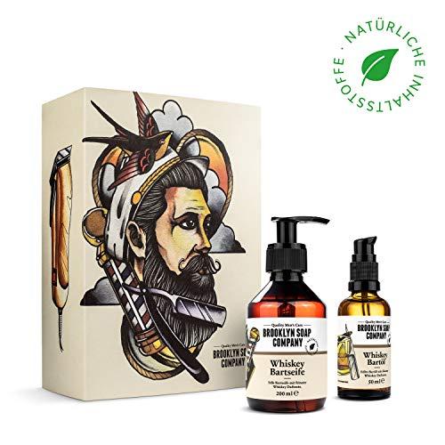 Whiskey Bartpflege Set · Brooklyn Soap Company · Bartpflegeset für Männer als exklusive Sonderedition · Bartshampoo & Bartöl mit feinsten Whiskey-Duftnoten ✓