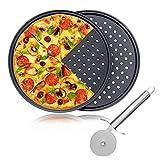 Teglia da forno per pizza con taglierina, 2 pezzi, 32 cm, rotonda, con fori, rivestimento in acciaio al carbonio, antiaderente, per cucina e forno Taglia libera Nero