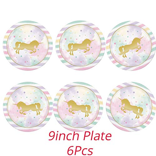 Unicorn Party Dekoration Unicornio Teller/Cup / Servietten Birthday Party Decoration Kindergeschirr-Sets Neujahr Navidad Supplies, 9-Zoll-Platten