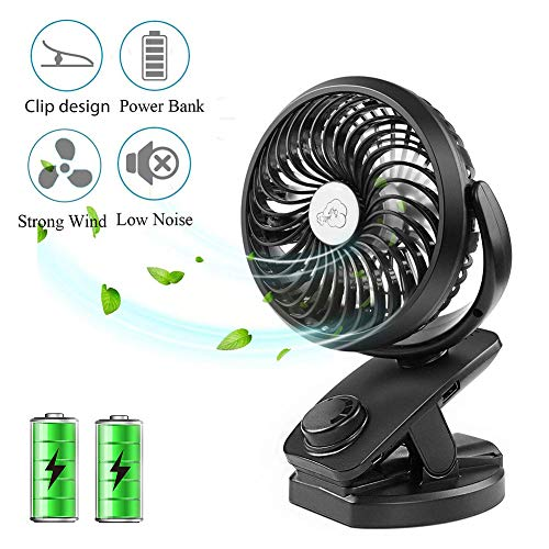 AWLLY USB Desktop Mini Lade Fan Band Aufladbare 4400Mah Batterie 360   ° Rotation Tragbarer persönlicher Lüfter
