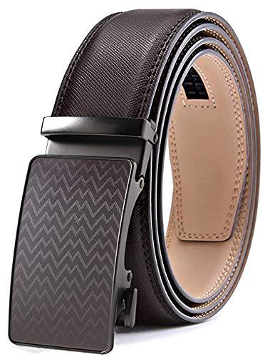 TERSE Cinturón de Hombre Hebilla de Cuero Auténtico Trinquete Automático 35 mm Ancho Largo 110CM
