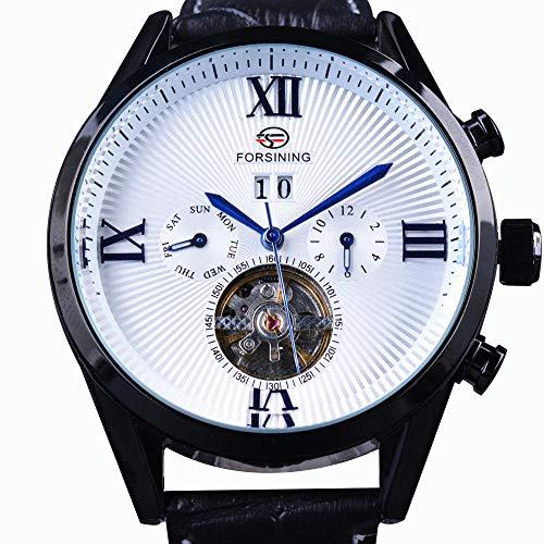Orologi classic blue lancette calendario romano numero orologi automatici automatici da uomo in vera pelle di lusso delle migliori marche