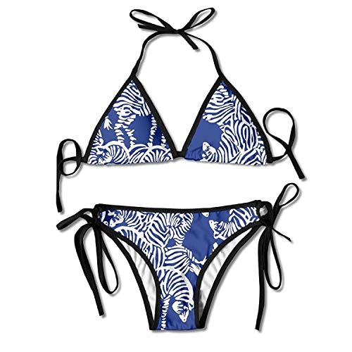Zebra Stripe Pattern Bikini Women's Summer Swimwear Triangle Top Bikinis Swimsuit Sexy 2-Piece Set Black Zebra Illusion